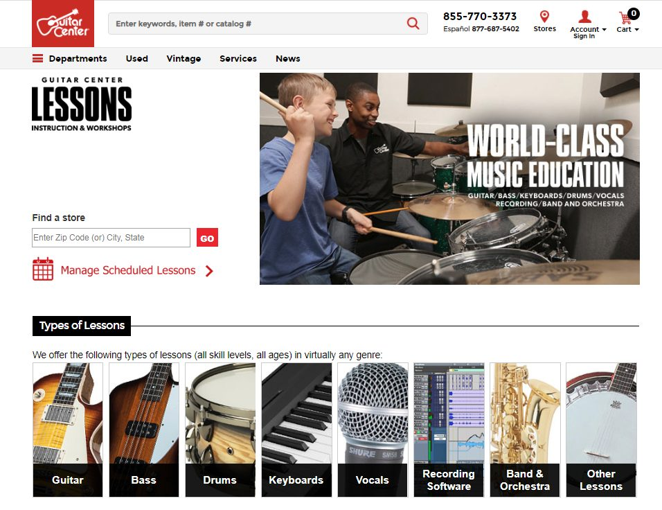 Guitar Center Lessons Start Page