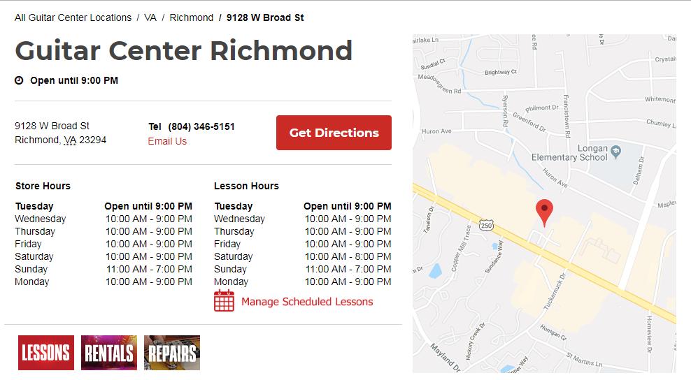 Guitar Center Richmond Hours