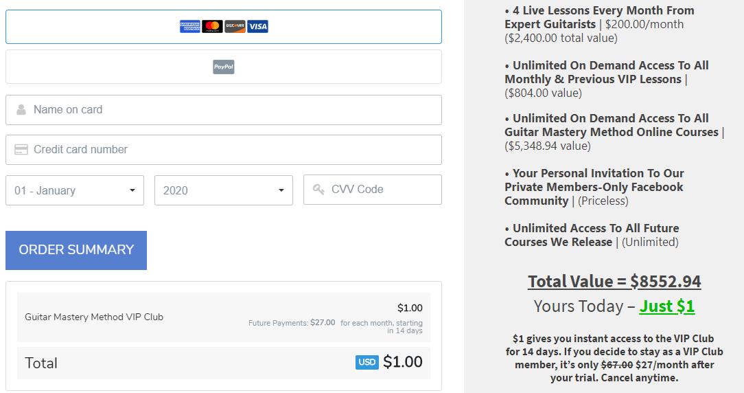 Guitar Mastery Method Upgrade Cost