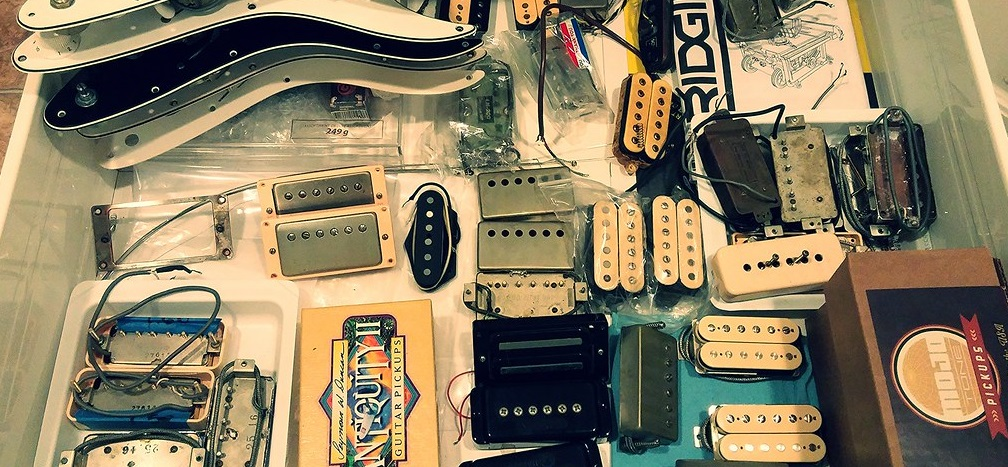 Shot of Guitar Pickups in a Shop