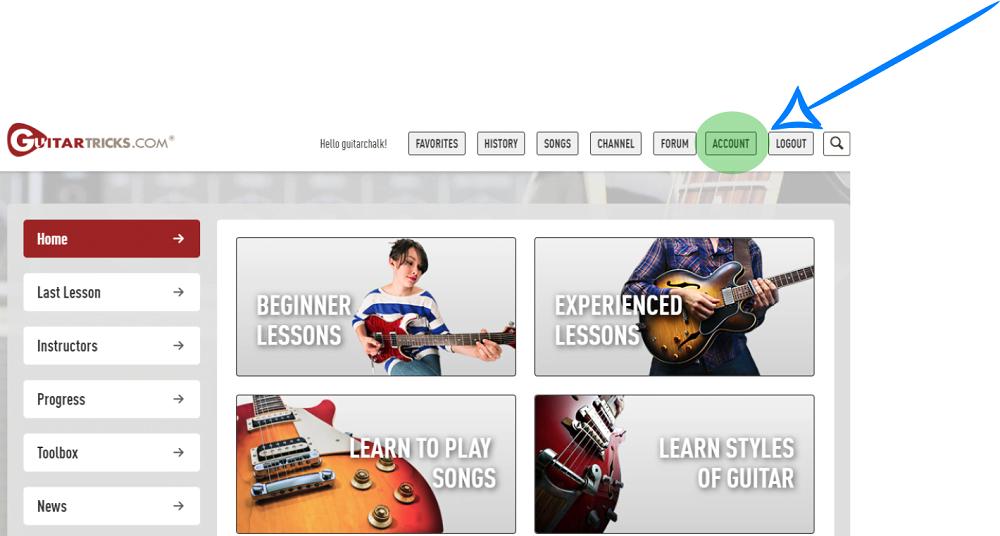Guitar Tricks Account Button