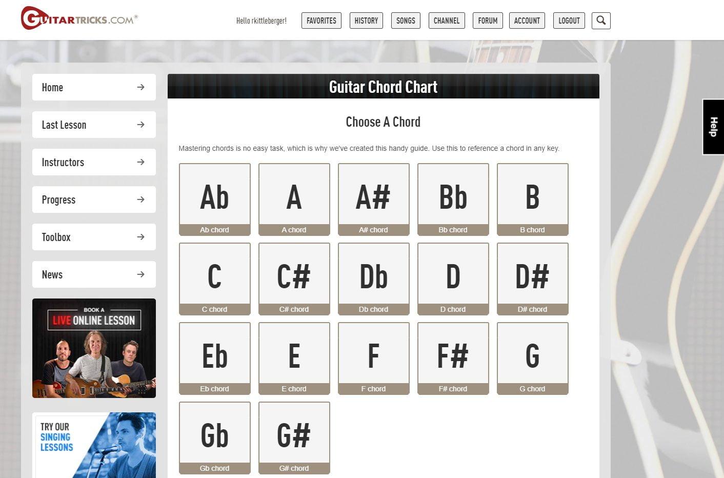 Guitar Tricks Chord Diagrams