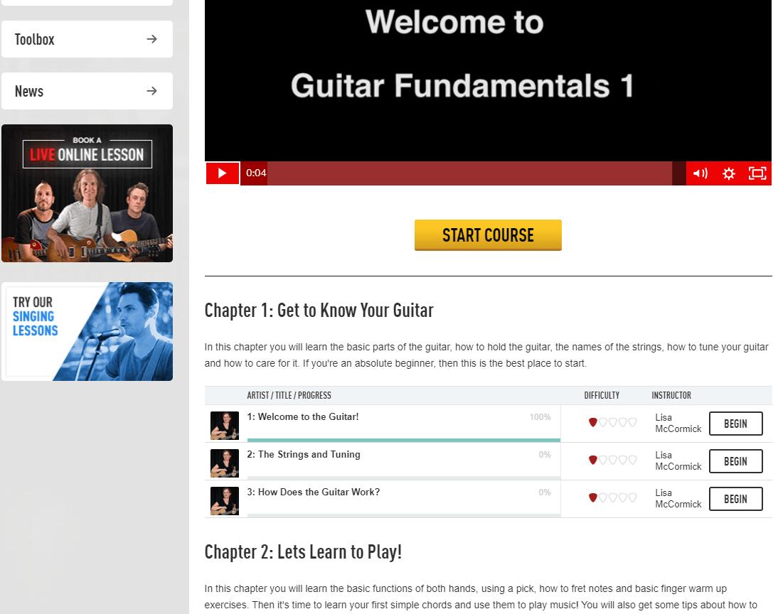 Guitar Tricks Fundamentals 1 Course