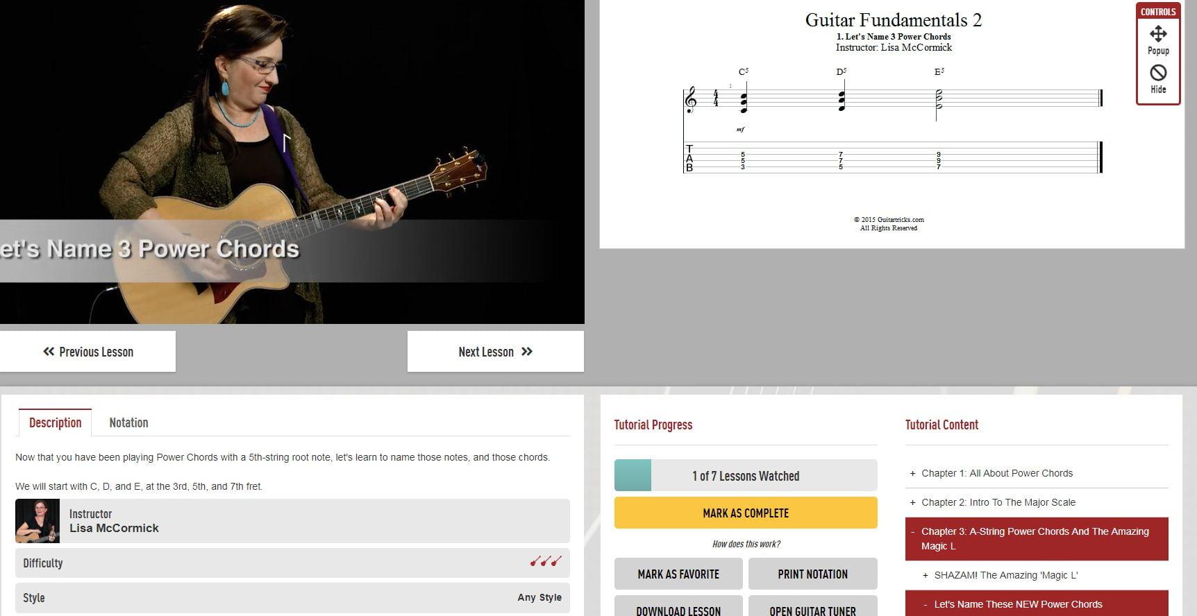 Guitar Tricks Interface Around Video Player