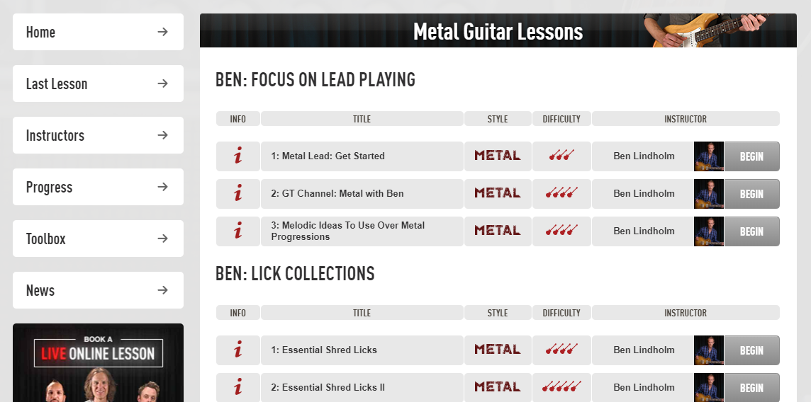 Guitar Tricks Metal Guitar Lessons