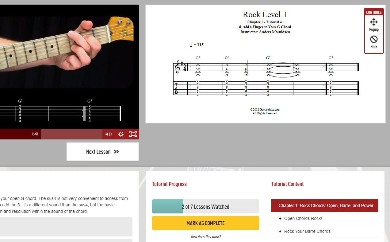 Guitar Tricks Rock Level 1 G Chord Course with Sheet Music