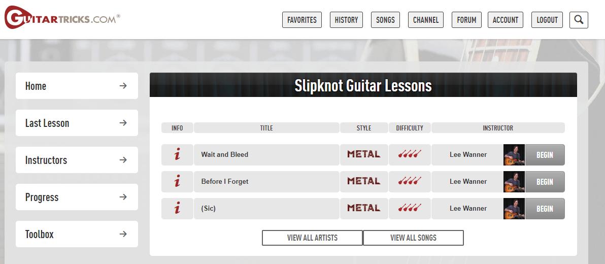 Guitar Tricks Slipknot Songs