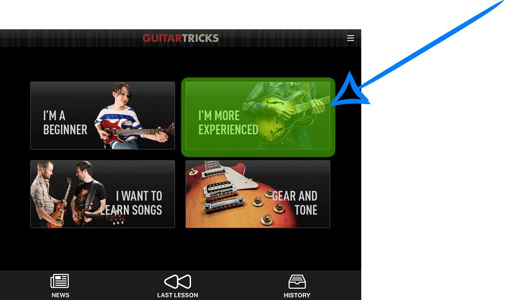 Guitar Tricks iPad App - Experienced Section