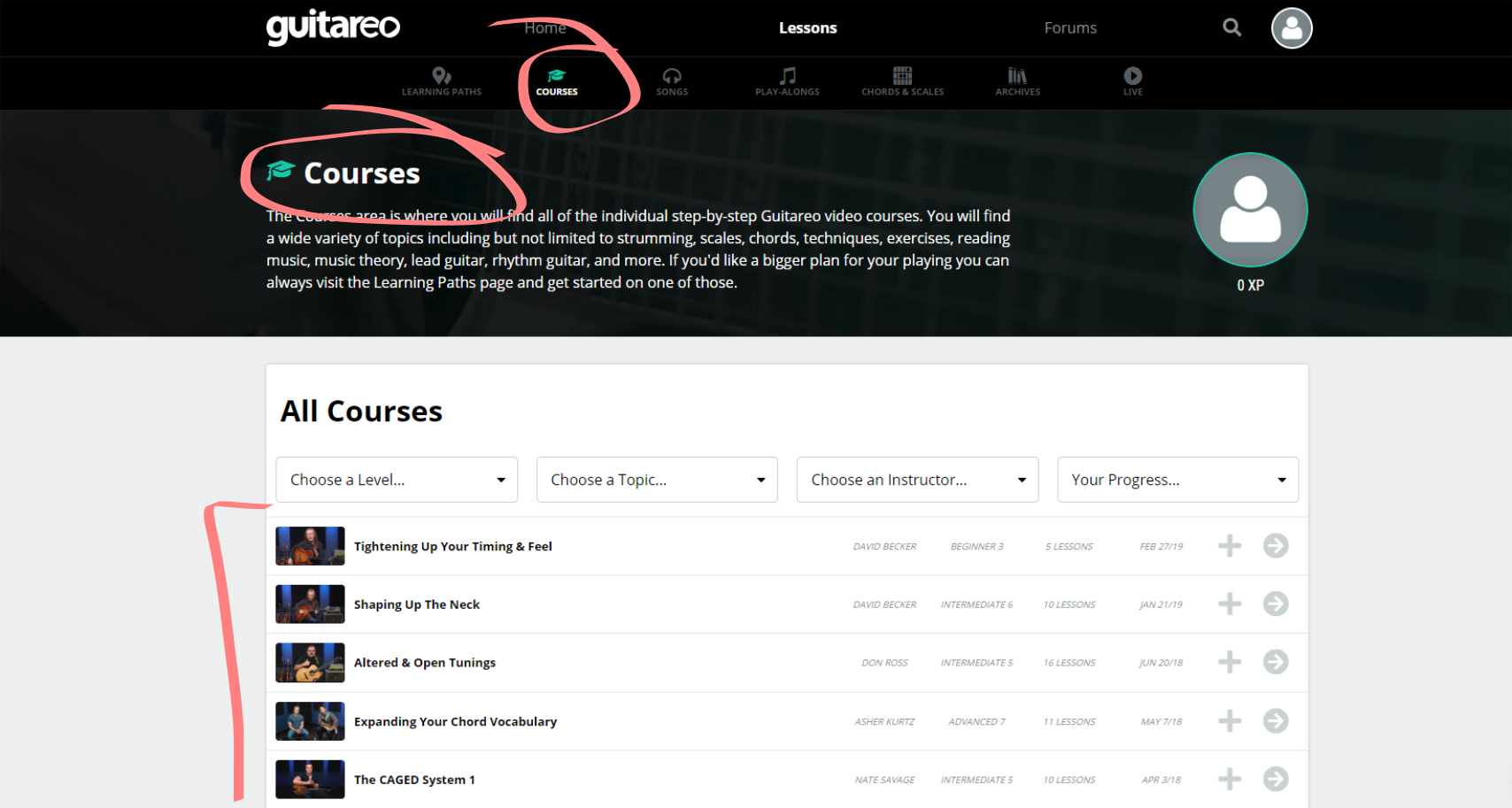 Guitareo Courses Page