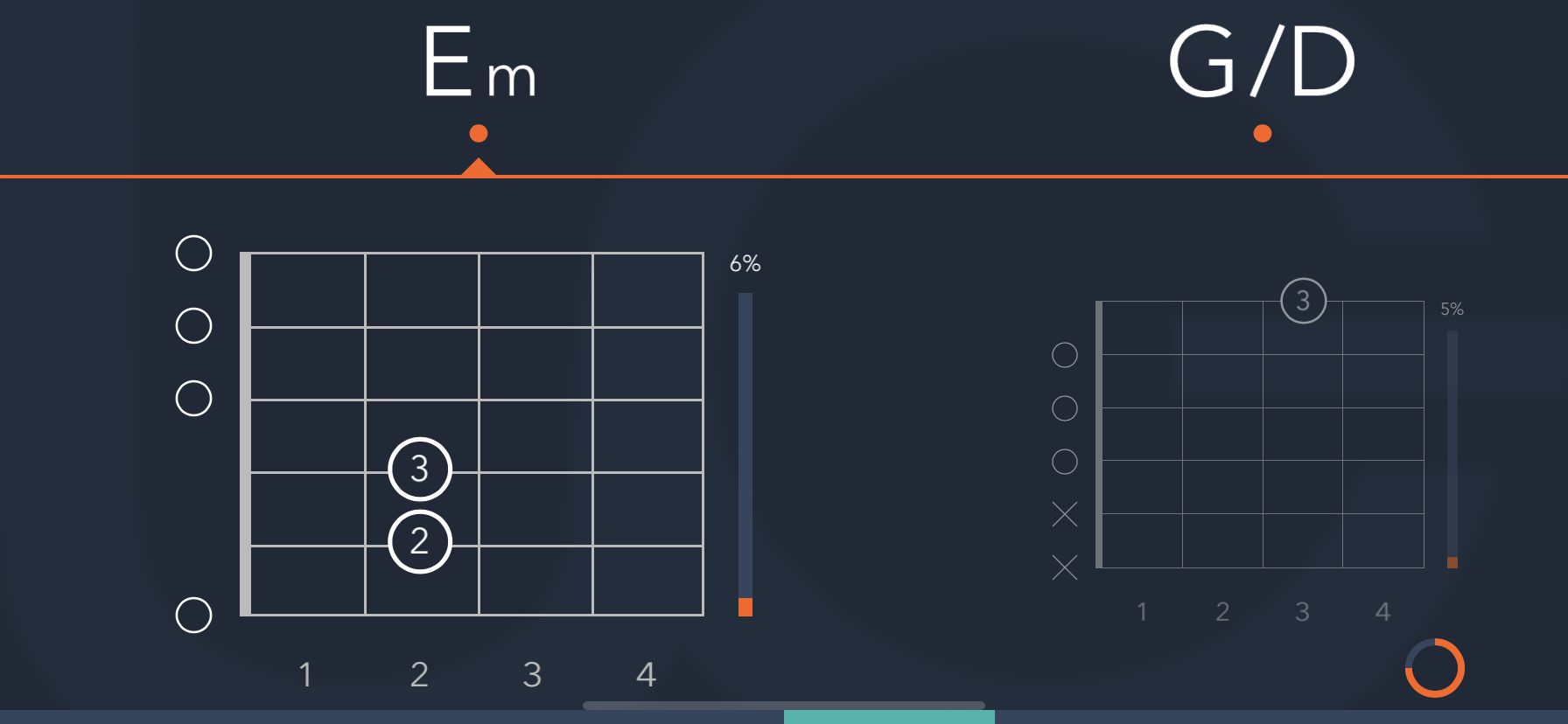 Uberchord Chord Progression Example (Em and G over D)