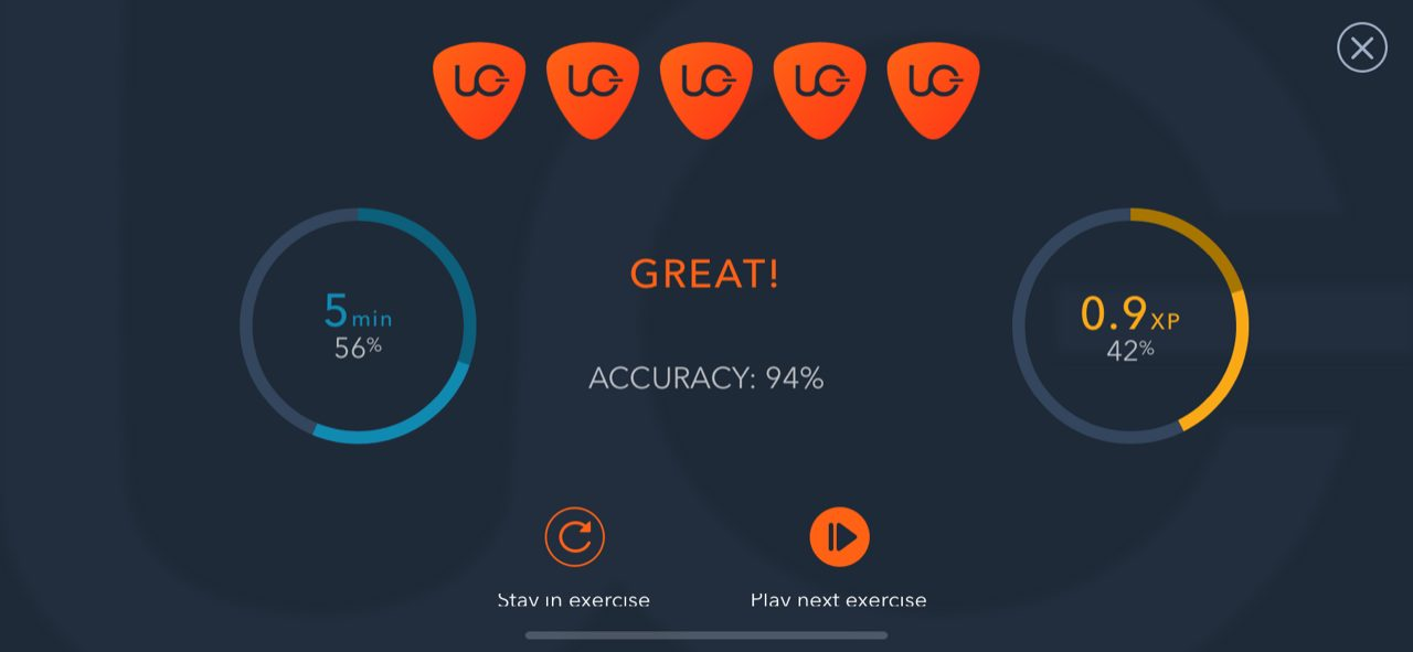 Final accuracy score for a chord progression exercise