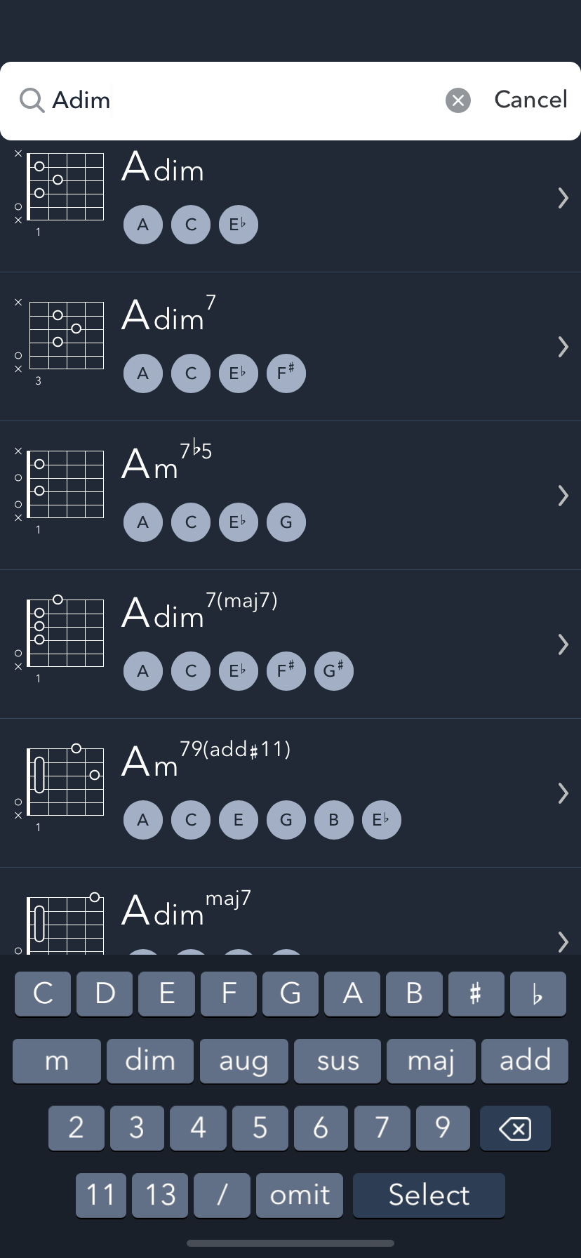Search results for a diminished A chord