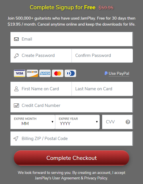 JamPlay Free Trial Sign Up with Credit Card