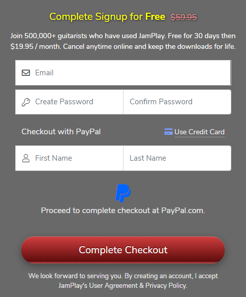 JamPlay Free Trial with PayPal SignUp