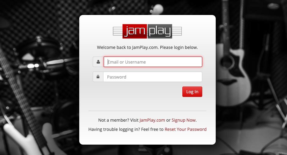 JamPlay Member Login Screen