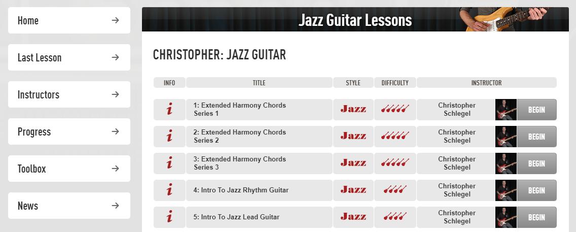 Jazz Guitar Lessons in Guitar Tricks
