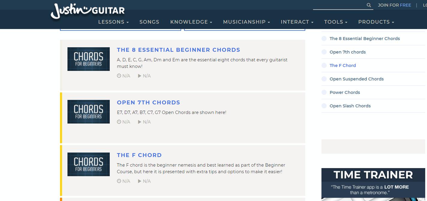 Justinguitar Chords Section