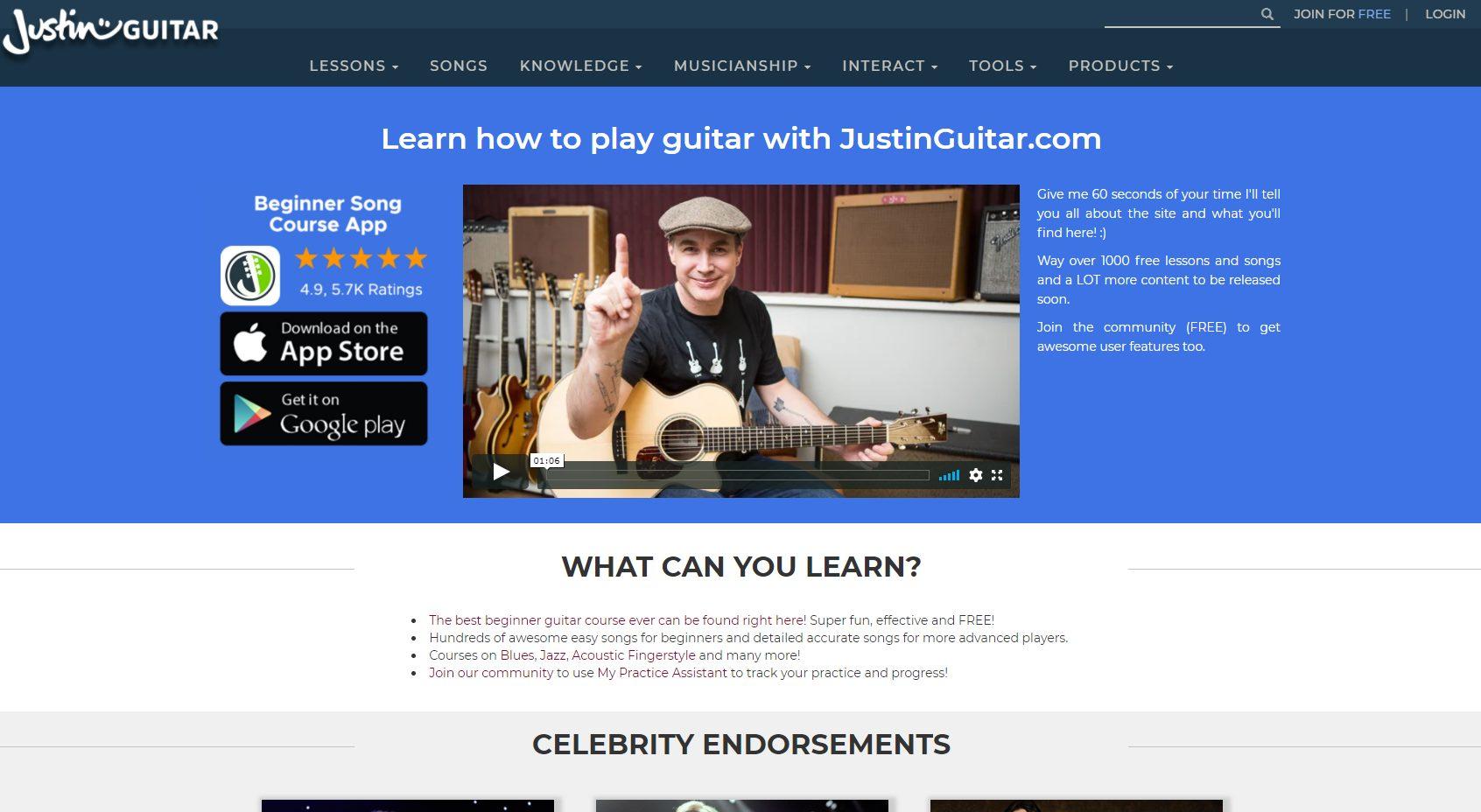 Justinguitar Home Page - October 2020