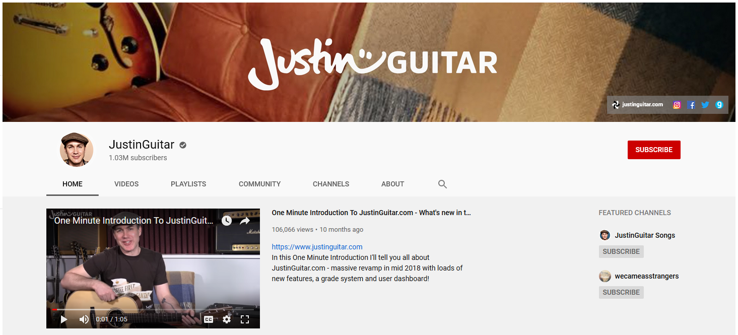 Justinguitar YouTube Screen Shot