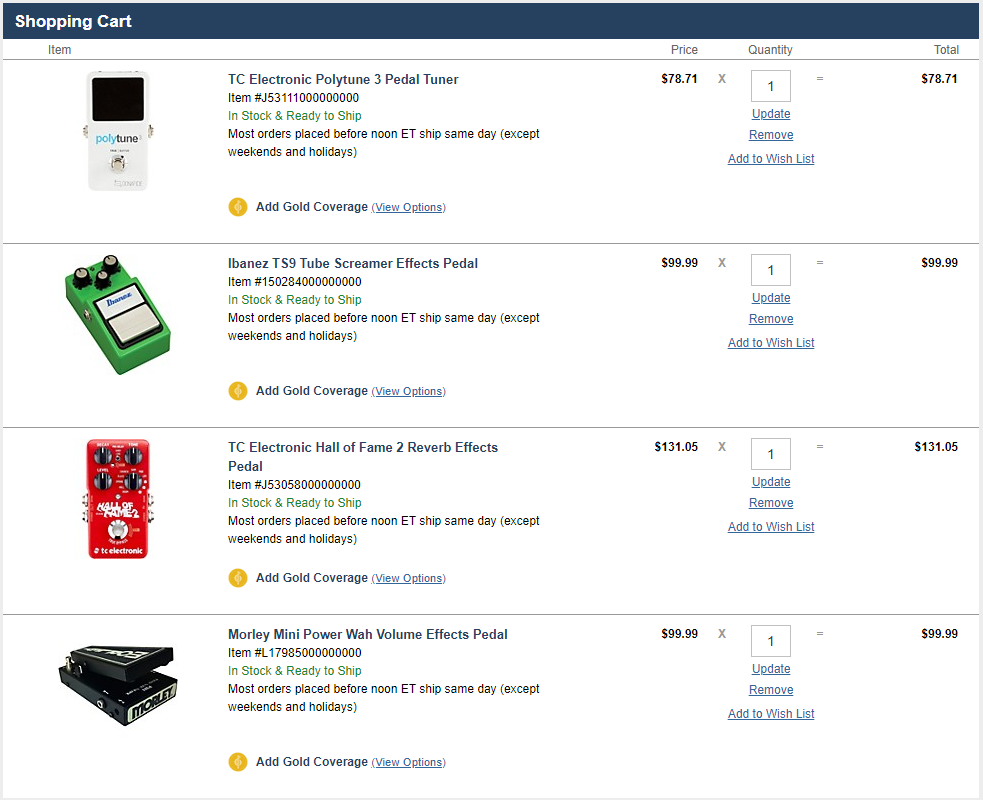 Musicians Friend Guitar Pedal Prices in Shopping Cart