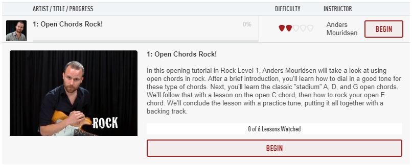 Open Chords Rock in Rock Level 1 Guitar Tricks Course