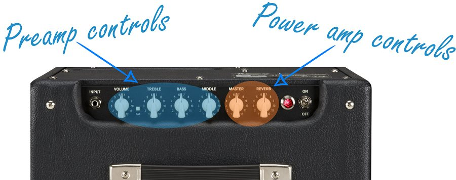 Preamp and Power Amp Controls of the Fender Blues Junior