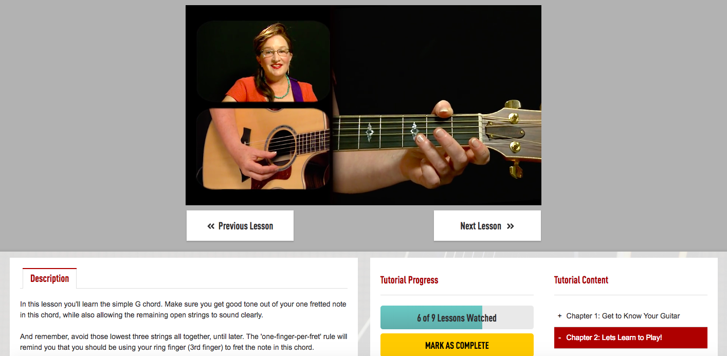 Guitar Tricks Lesson Screen Shot