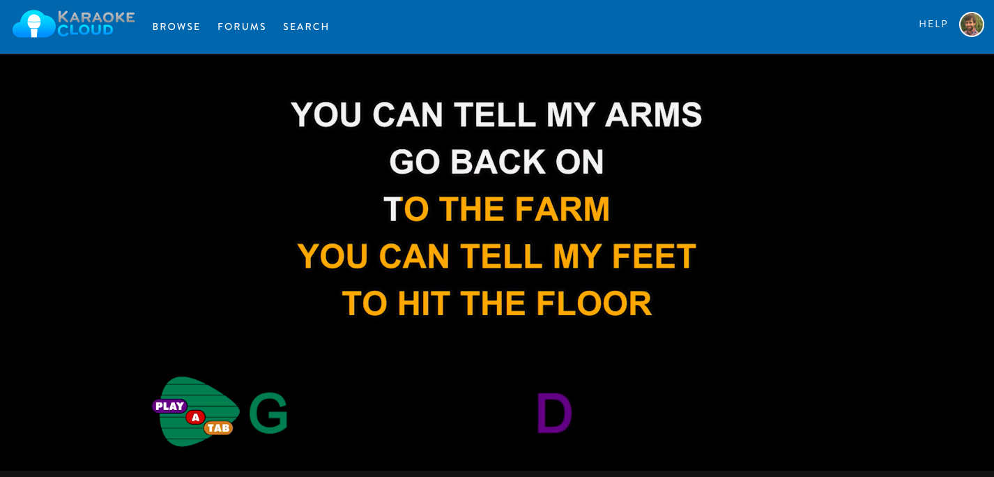 Karaoke Cloud Song with Play-A-Tab Chords