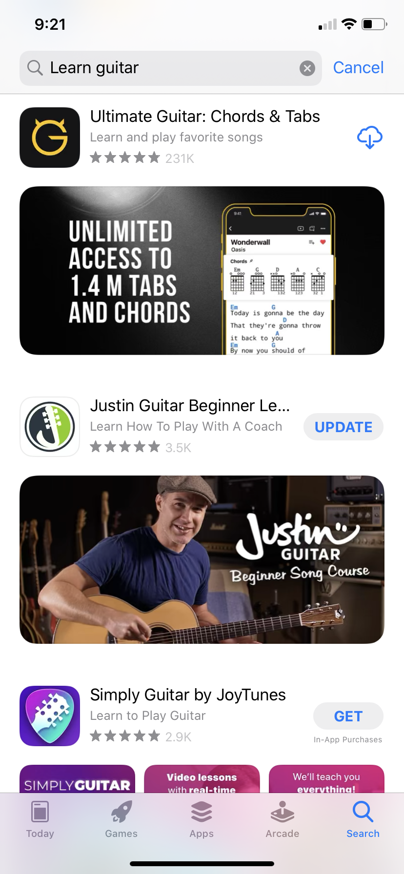 Searching for a Guitar Learning App