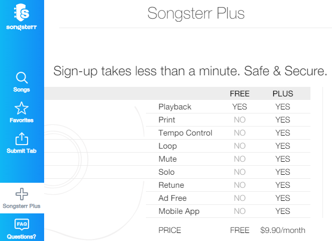 Songsterr Plus Features Breakdown (free and PLUS account differences)