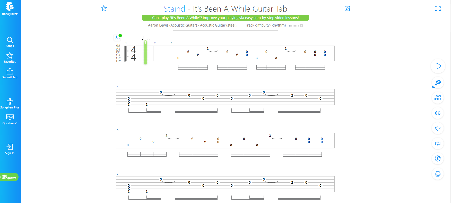Staind - It's Been Awhile - Songsterr Tab