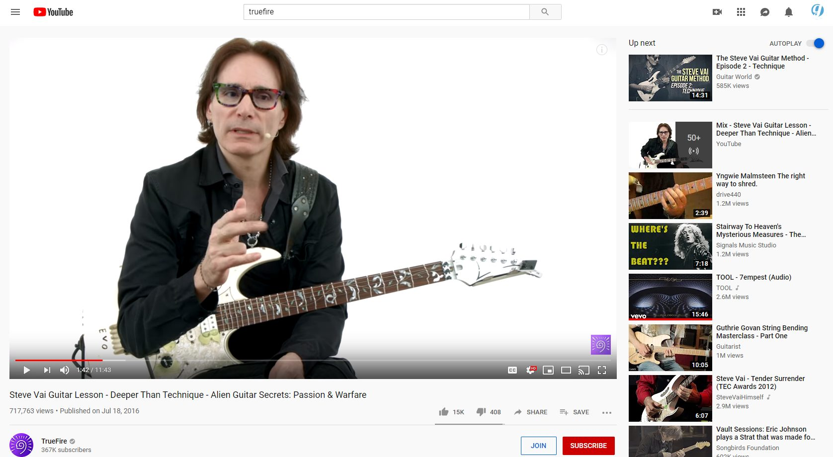 Steve Vai YouTube Lesson Screen Shot
