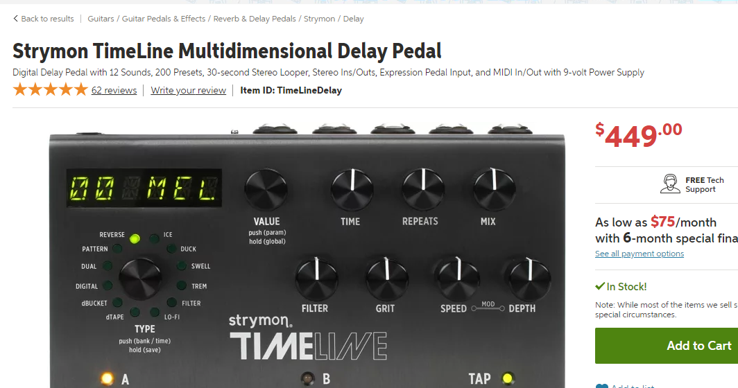 Strymon Timeline Price Point on Sweetwater