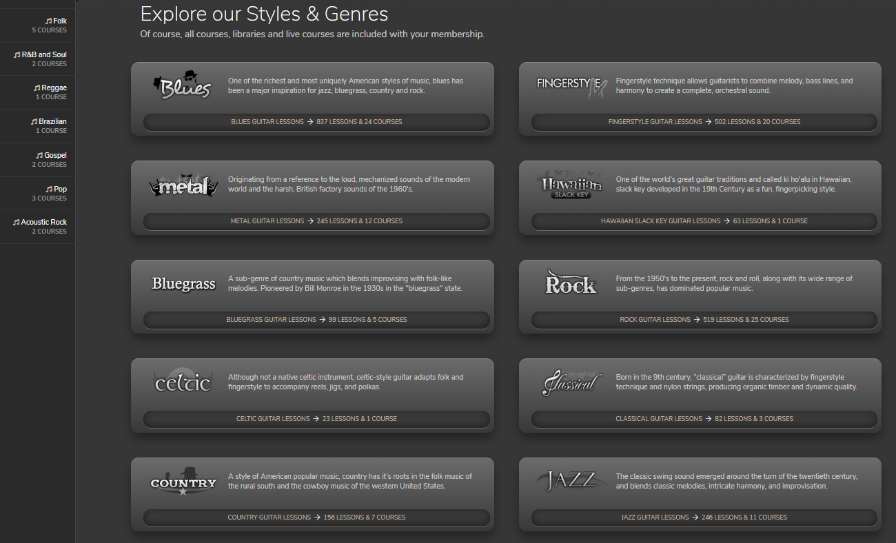 Styles and Genres in JamPlay