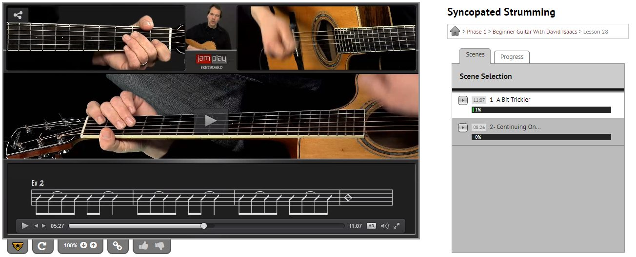 Syncopated Strumming Patterns in JamPlay