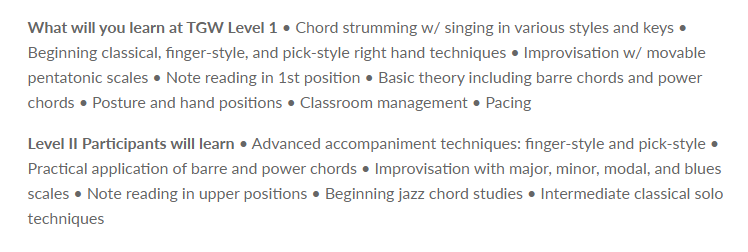 Teaching Guitar Workshops (topics covered)