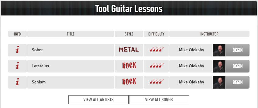 Tool Song Lessons (Guitar Tricks)
