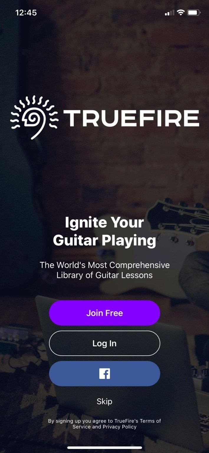 TrueFire App Login Screen