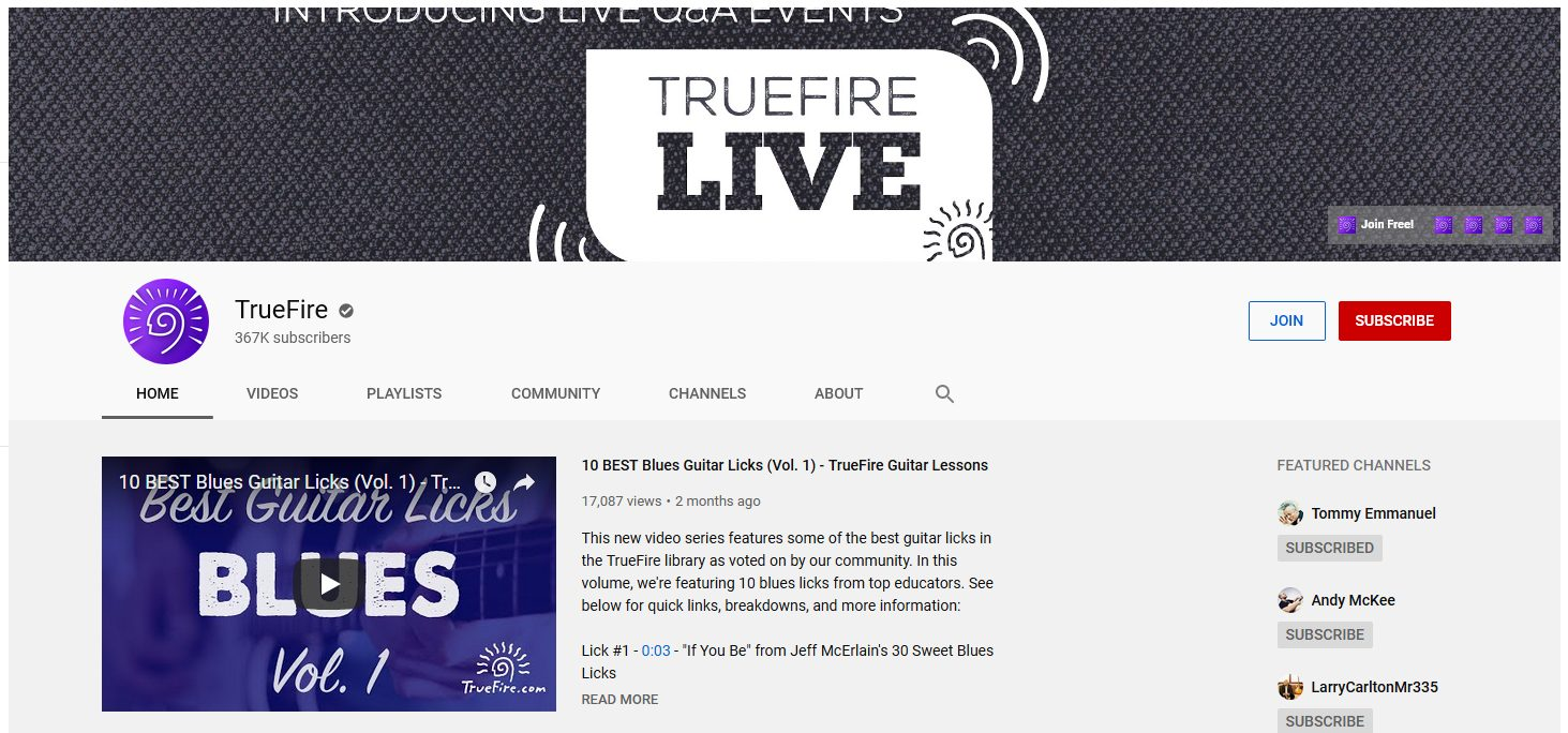 TrueFire YouTube Banner Photo