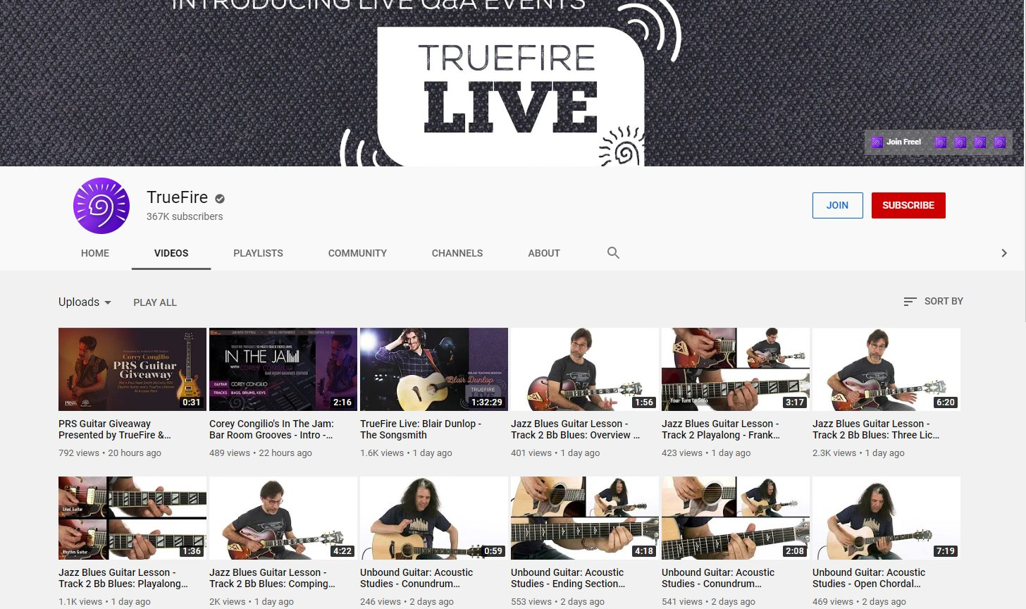 TrueFire YouTube Channel