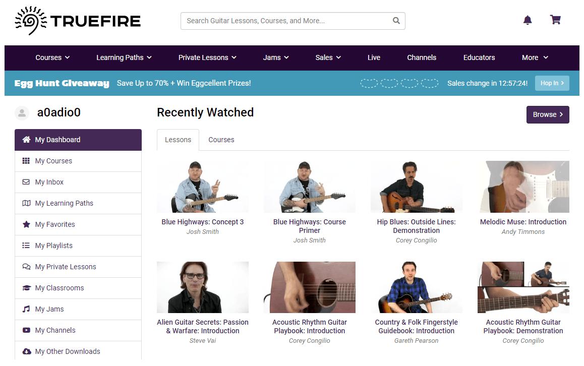 Truefire Review Dashboard Screen Shot