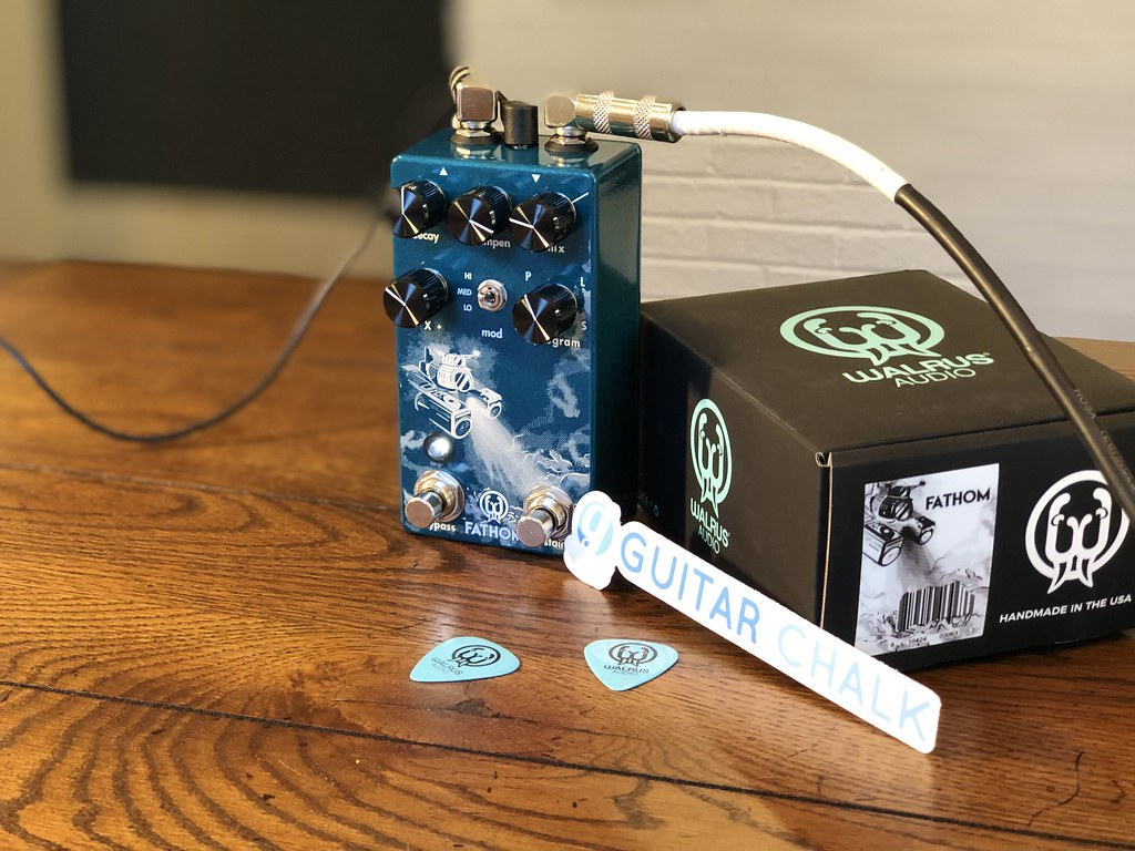 Walrus Audio Fathom reverb pedal with box, picks, cables, and power supply connected