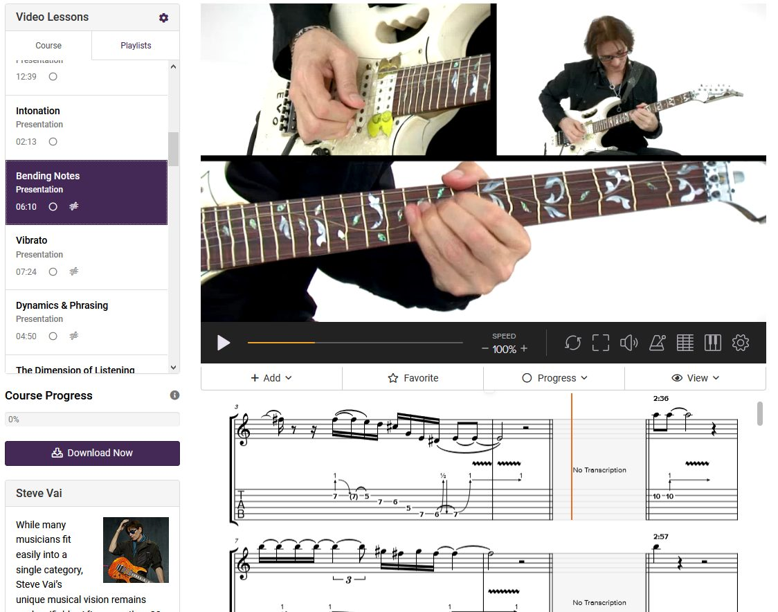 Bending Lesson on TrueFire by Steve Vai