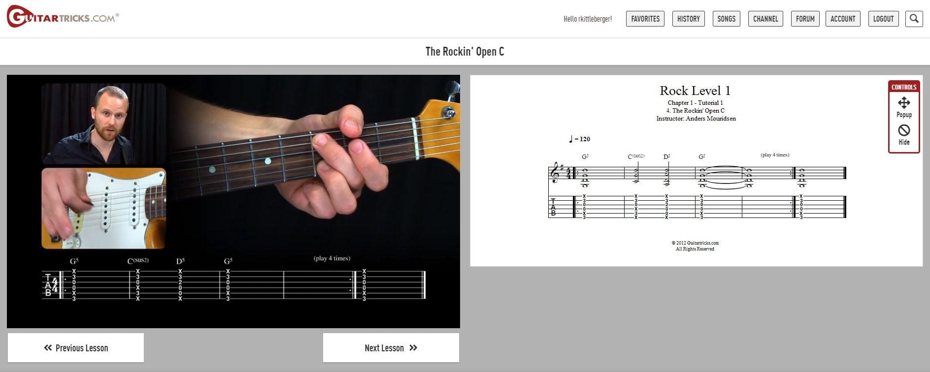 Rock Guitar Lesson in Guitar Tricks