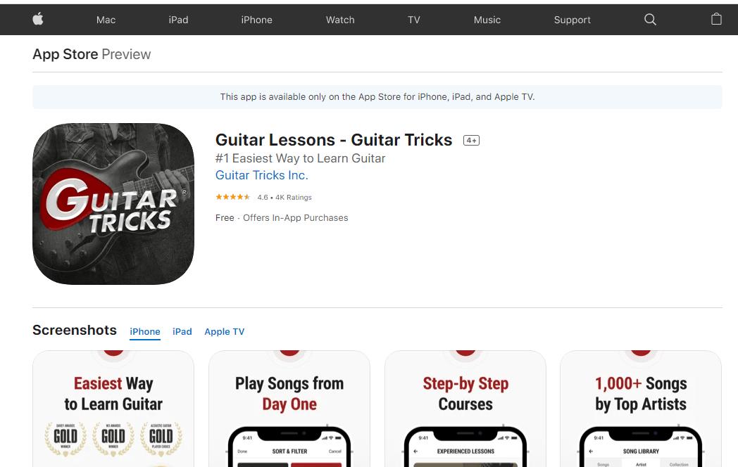 The Guitar Tricks iPad App (Apple Store)