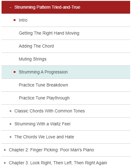 Additional Lessons in the Acoustic Guitar (drop-down menu)