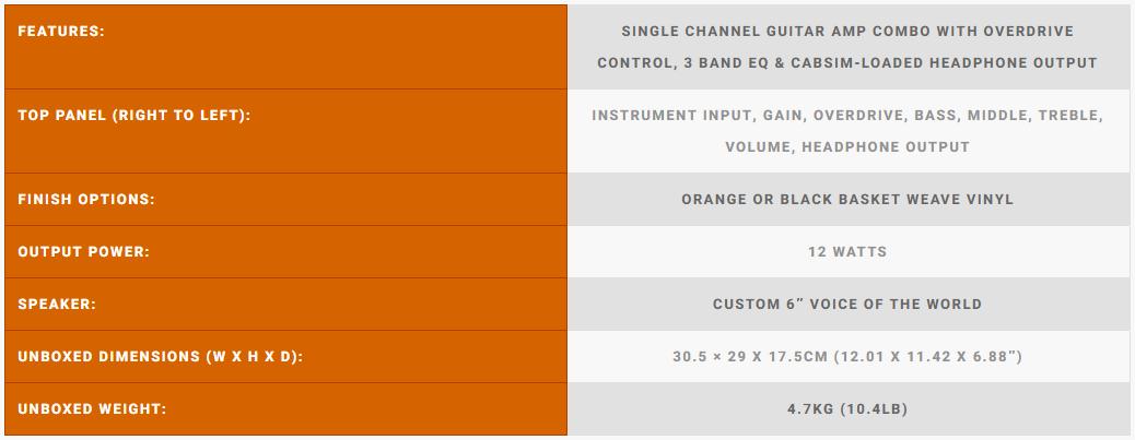 Orange Crush 12 Specs Sheet