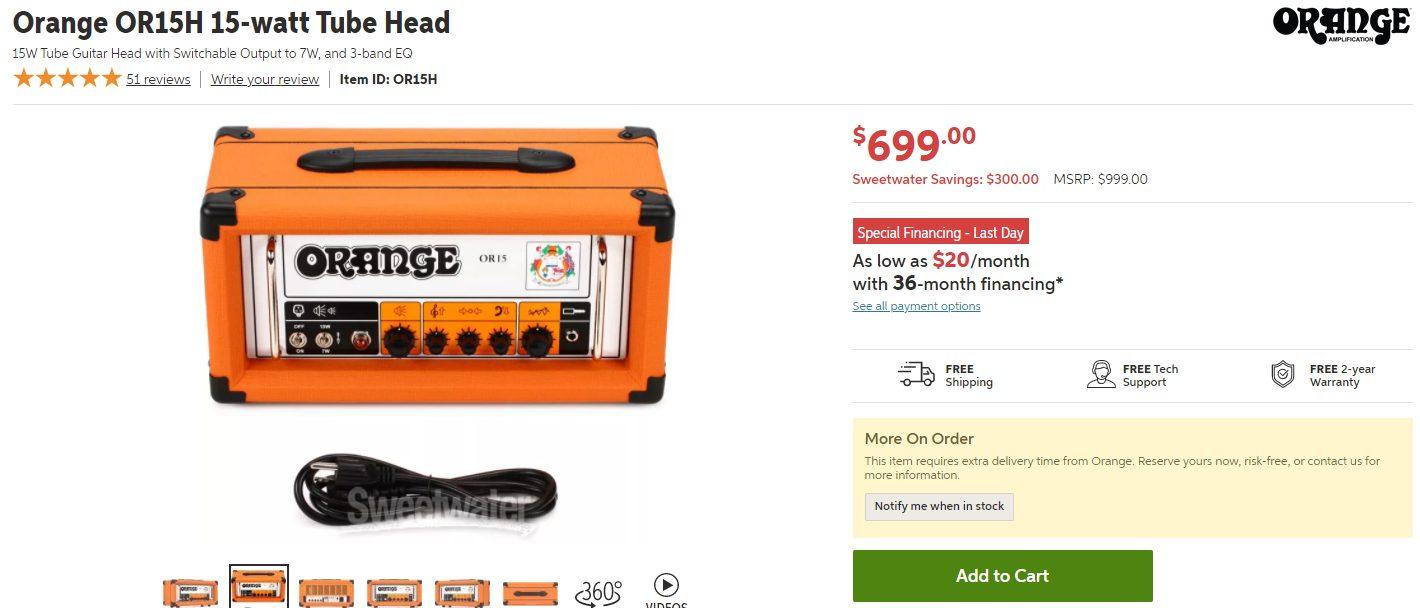 Orange OR15H Price Tag