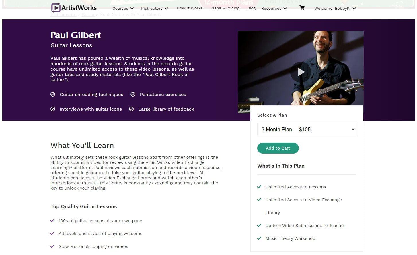 Paul Gilbert Rock Guitar Lessons on ArtistWorks