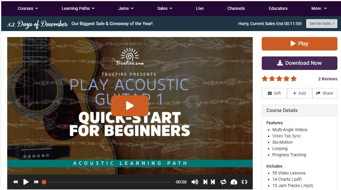 Play Acoustic Guitar 1 Course in TrueFire